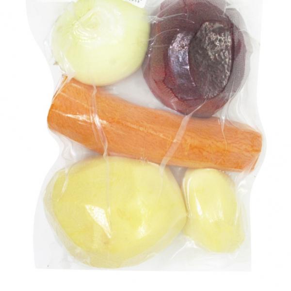 Набор чищенных овощей для борща (лук, буряк, морковь, картофель) 650 гр